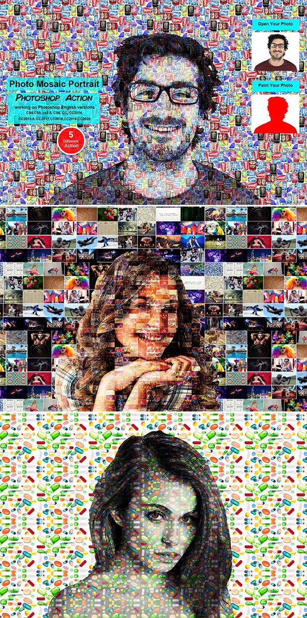 Photo Mosaic Portrait PS Action