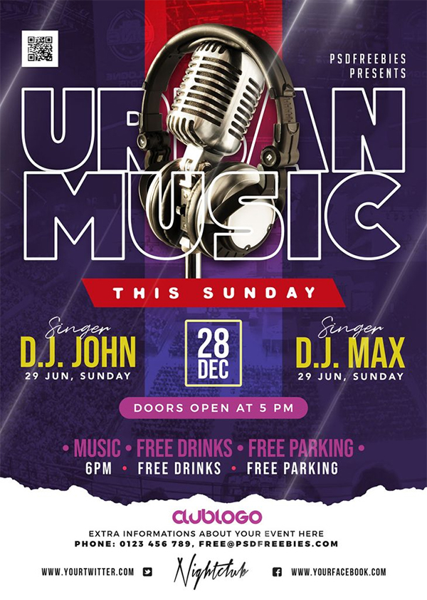 Urban Music Party Flyer PSD Template