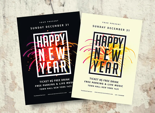Black and White New Year Flyer Template