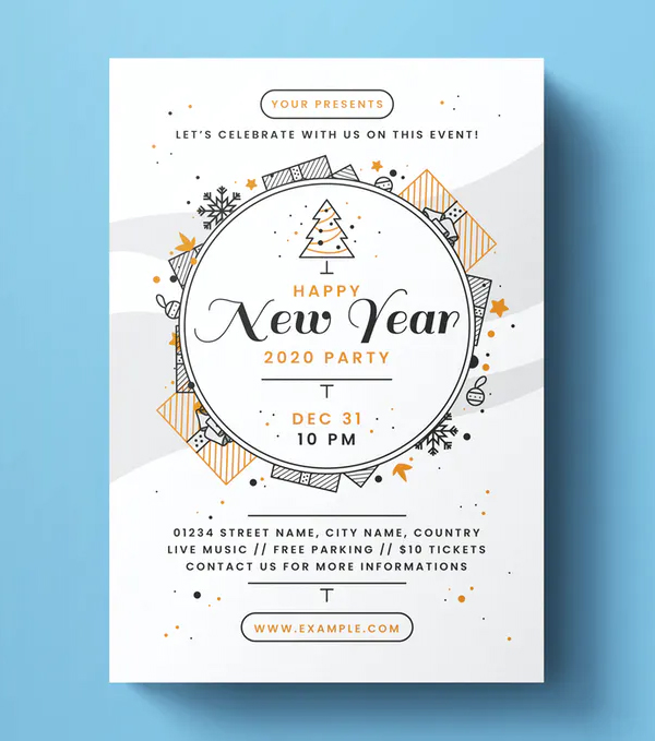 Clean New Year Flyer Template