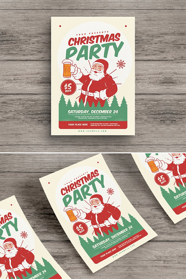 Retro Christmas Party Flyer