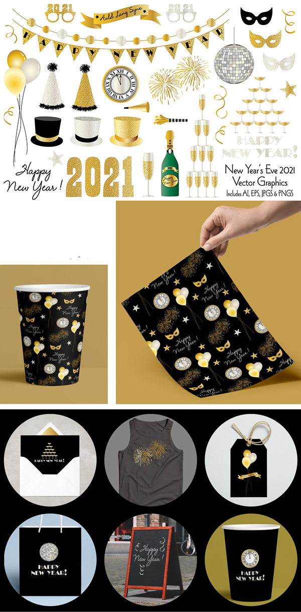 New Year's Eve 2021 Clipart Graphics