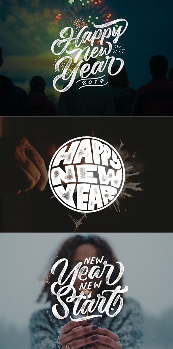 New Year Lettering Overlays