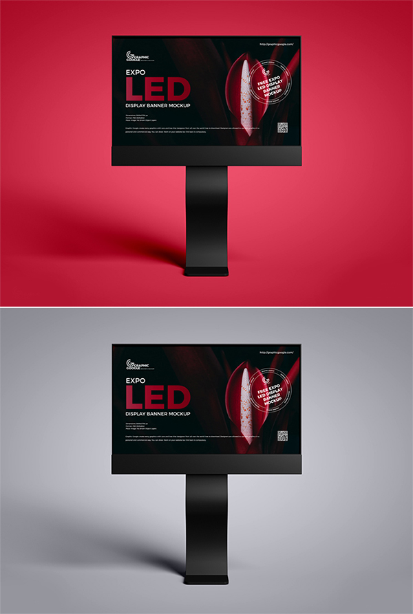 Free Awesome LED Advertising Display Banner PSD Mockup