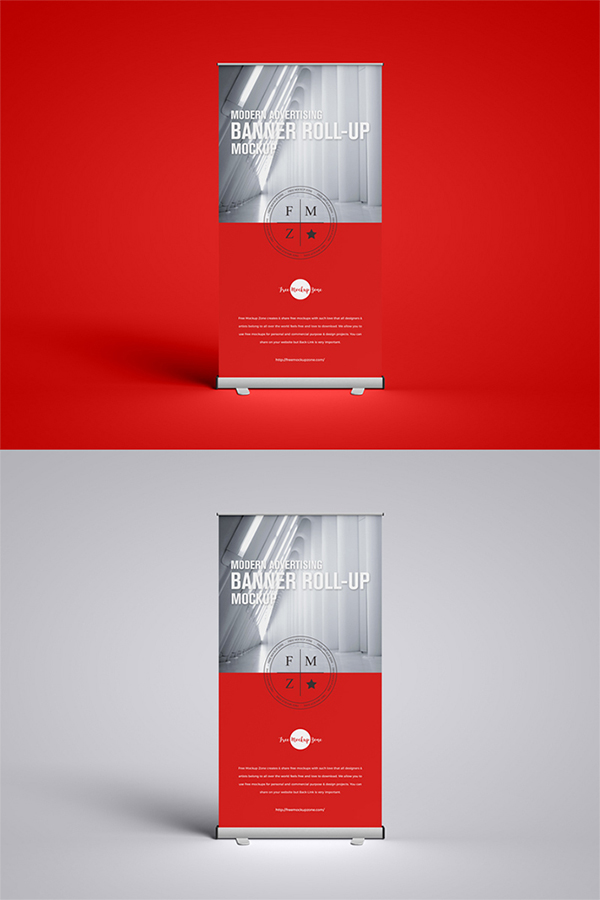 Perfect Attractive Advertising Roll-up PSD Mockup