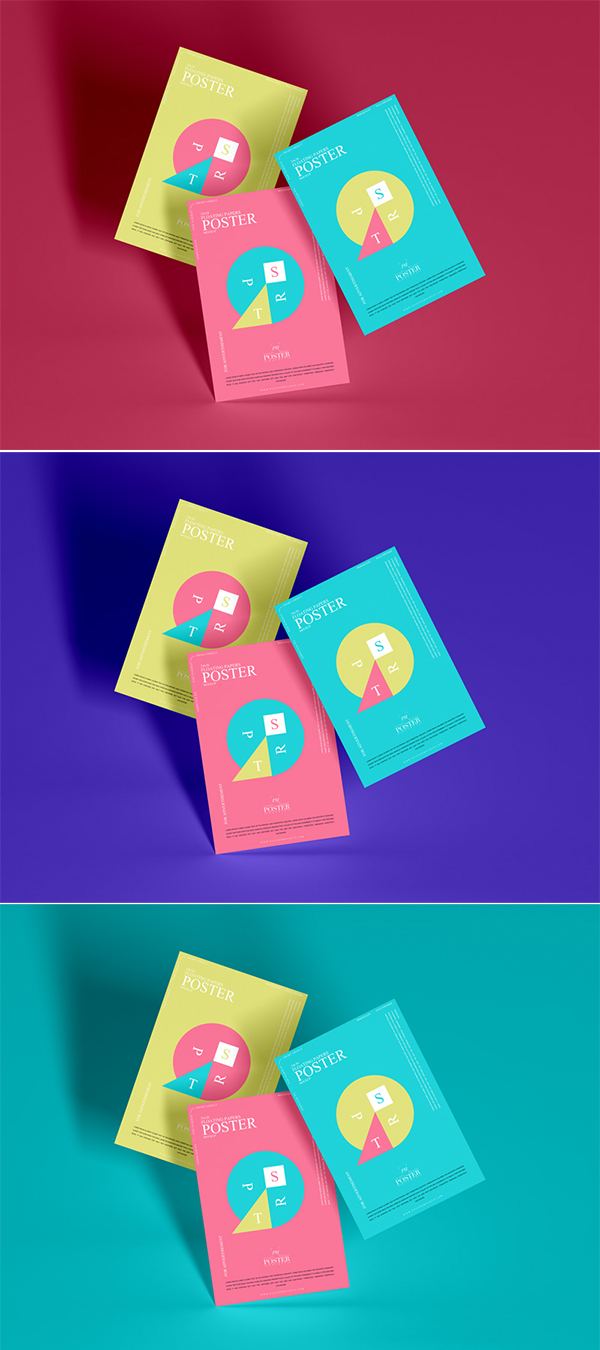Floating Papers Poster Mockup Free