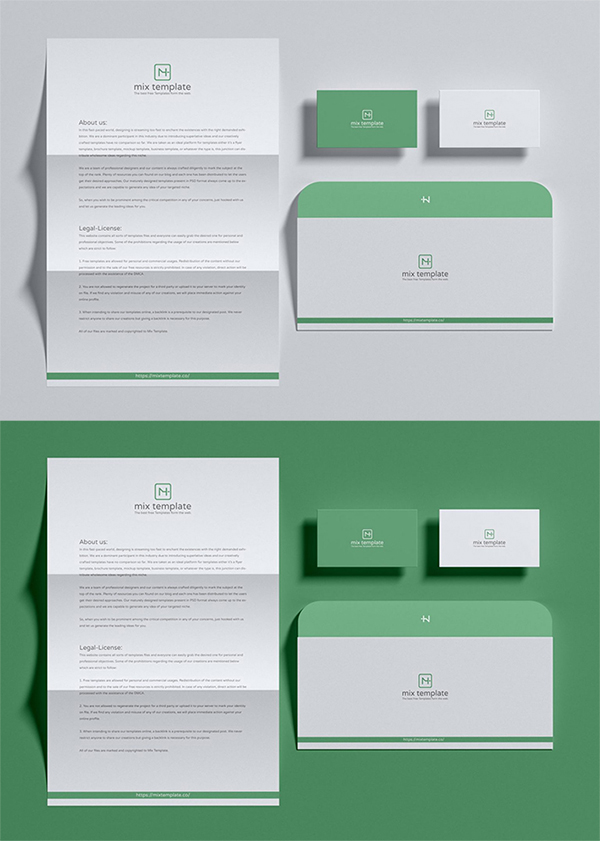 Free Simple Attractive Stationery Mockup Template