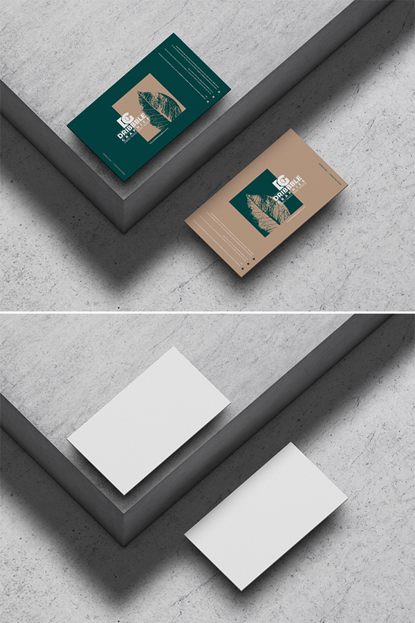 Free Business Cards on Concrete Floor Mockup
