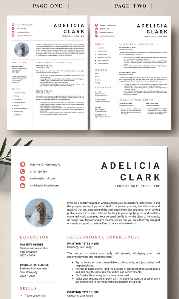 4 Pages Resume Template Word