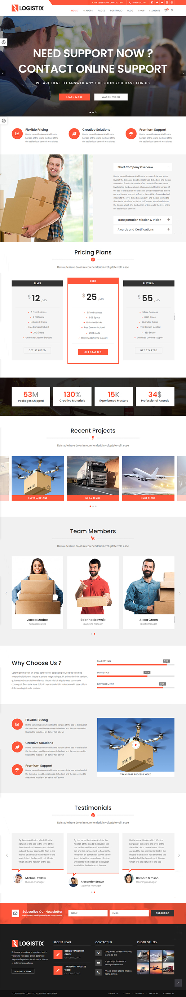Logistix - Transportation WordPress Theme