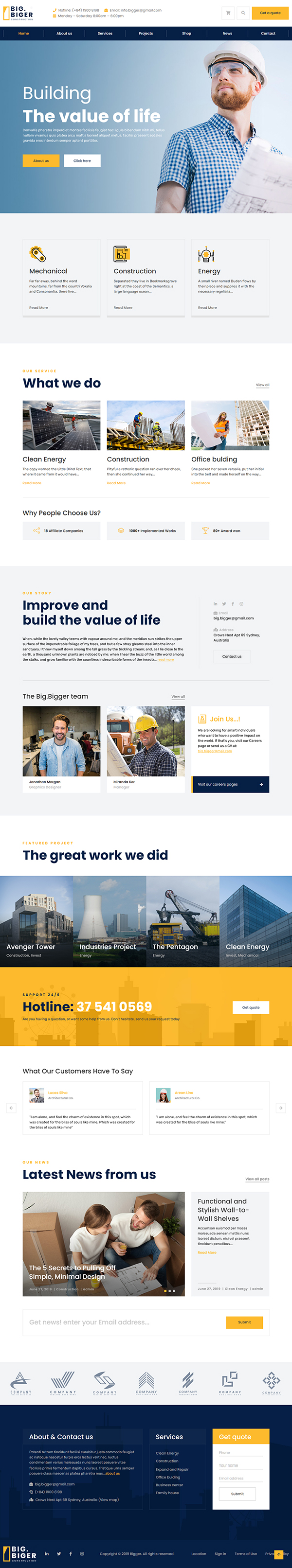 Bigger - Construction WordPress Theme