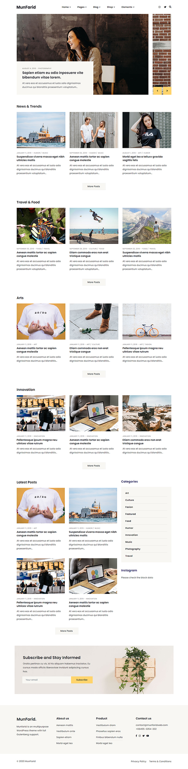 Munfarid - A WordPress Theme For Blog & Shop