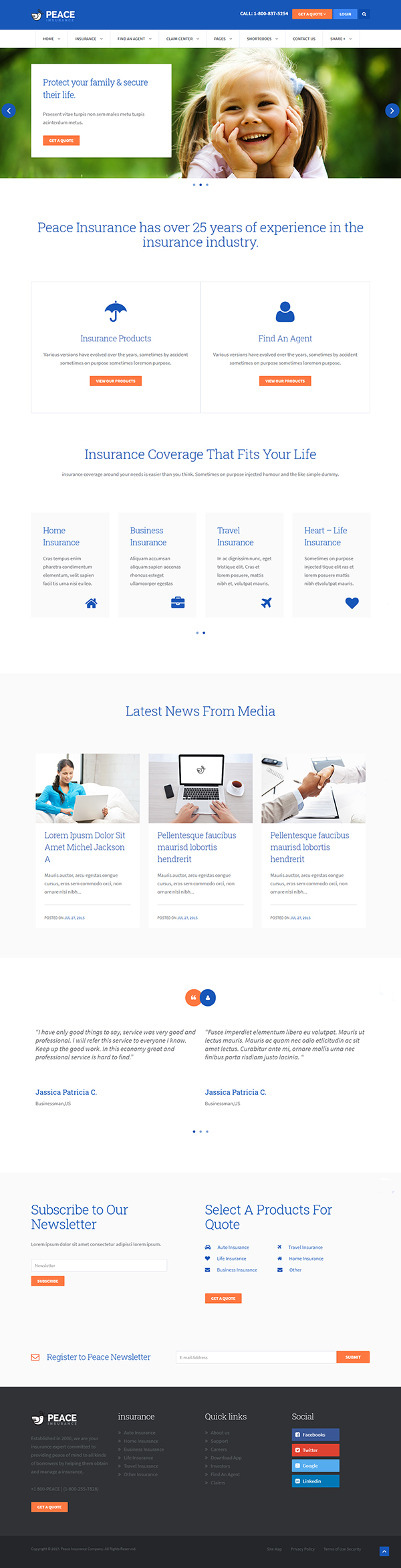Peace – Insurance Agency WordPress Theme