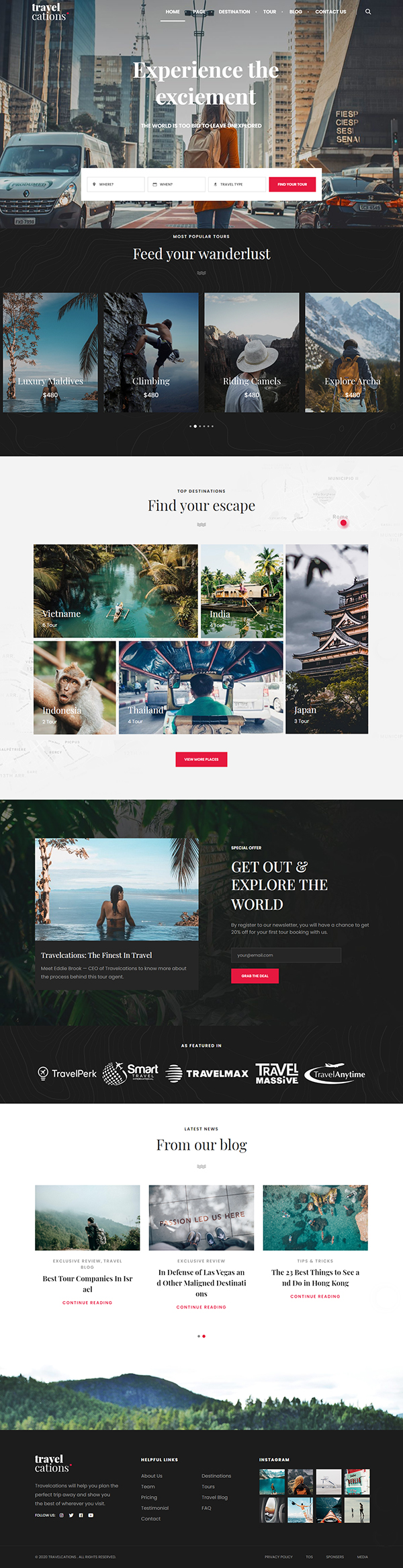 Travelcations - Advanced Tour Elementor Theme
