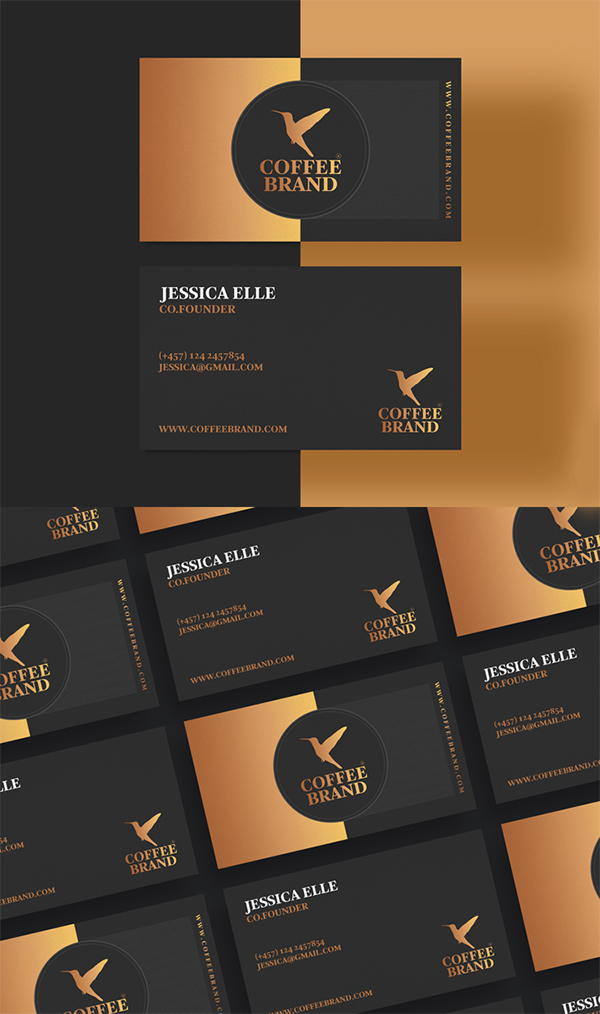 Free Awesome Business Card Template For Coffee Shop (PSD)