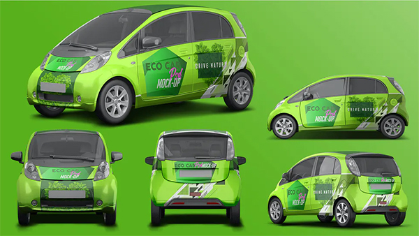 Realistic Electric Car PSD Mockup