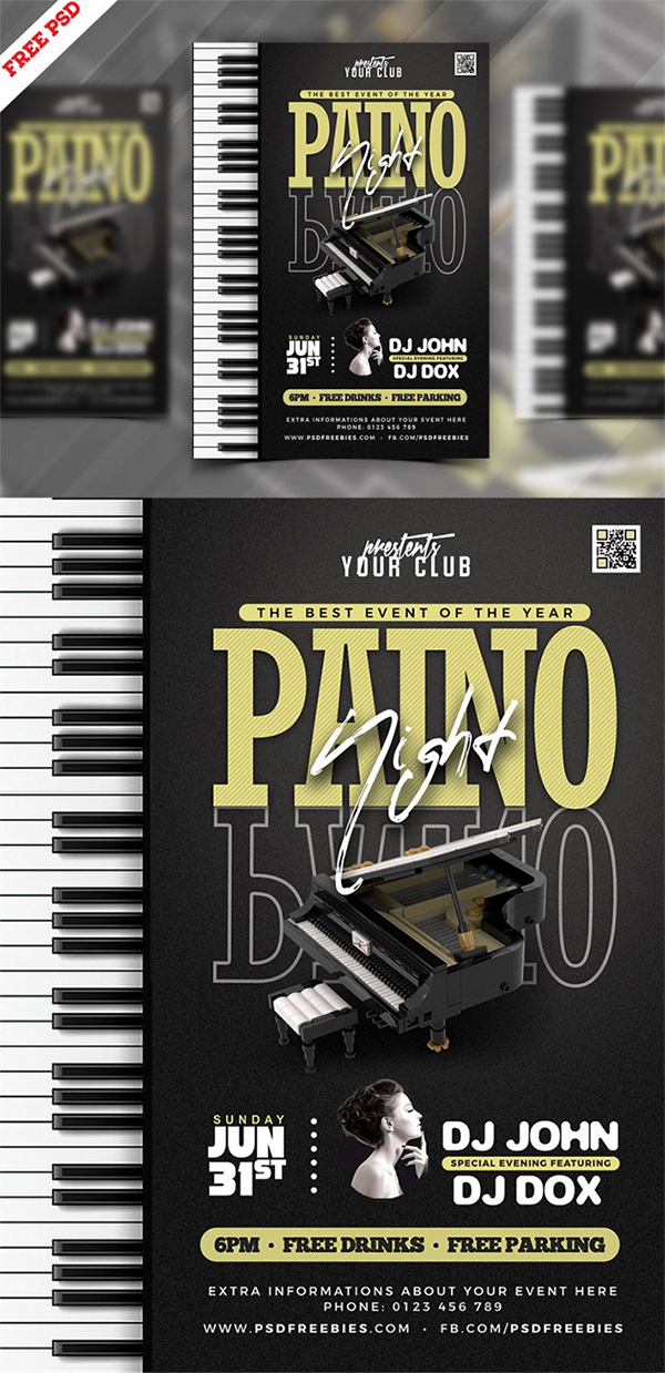 Free Attractive Piano Music Night Party Flyer Template