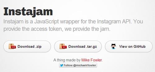 Instajam: JavaScript wrapper for the Instagram