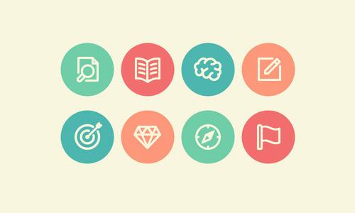 Flat Branding Process Icons