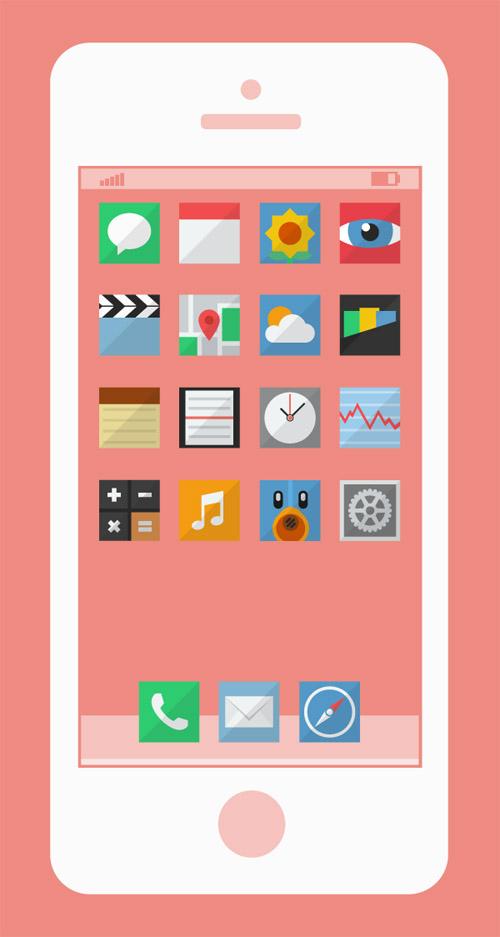 Flat style iOS icons