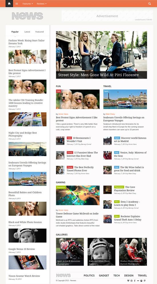 Newses - Magazine Style WordPress Theme