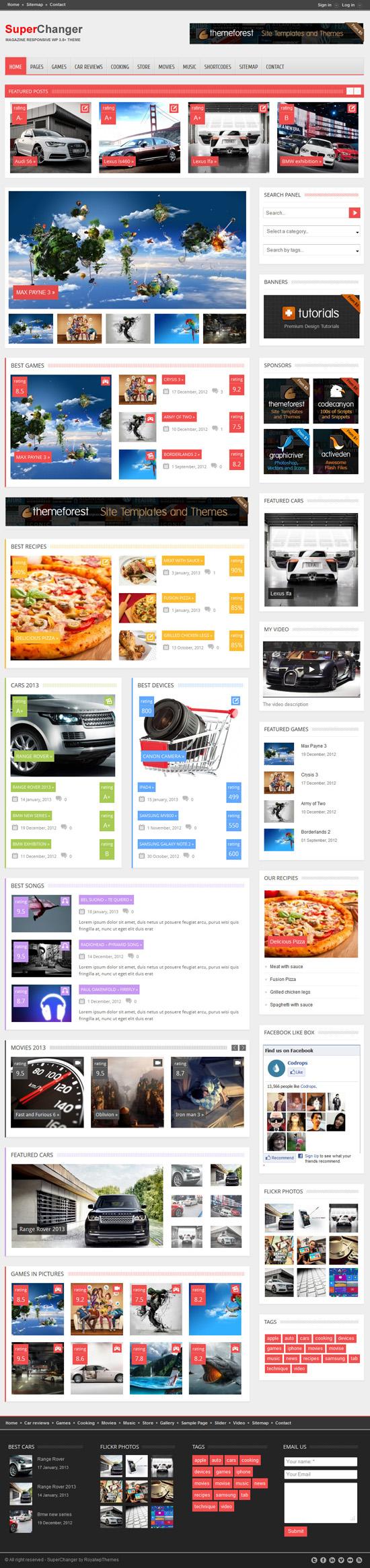 SuperChanger - Responsive WordPress Theme