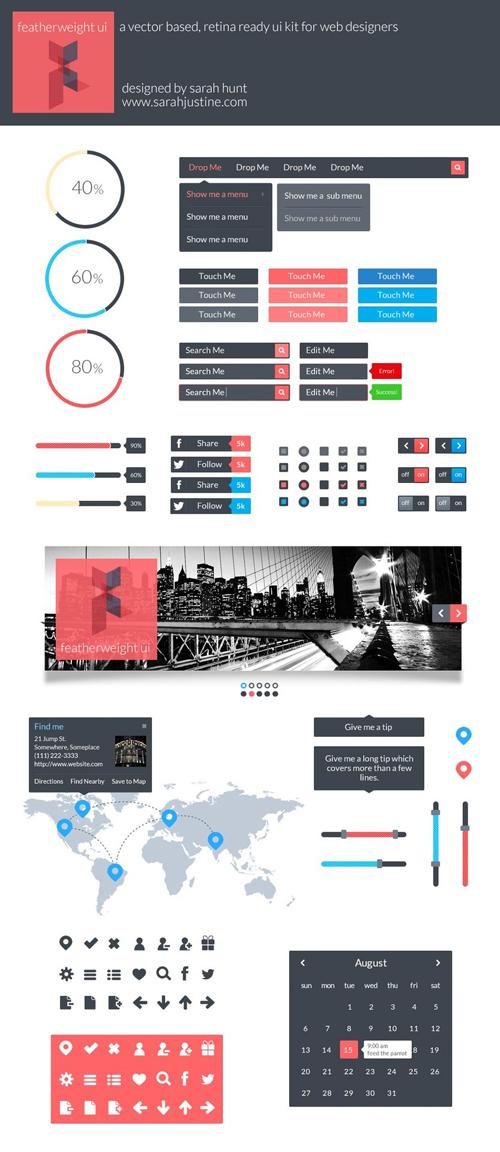 Flat Elements for Web UI Design-30
