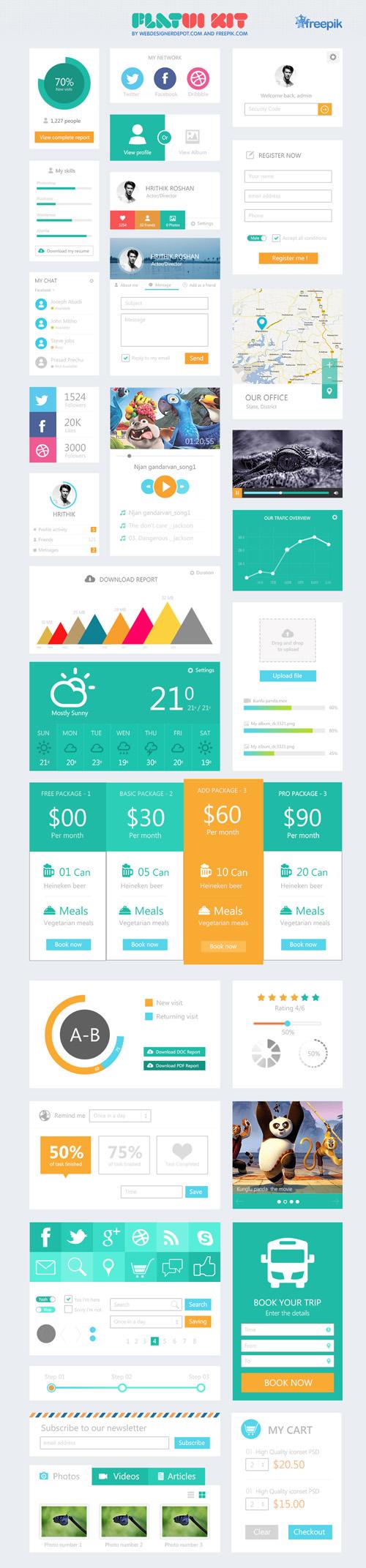 Flat Elements for Web UI Design-40