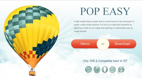 Pop Easy: Light weight jQuery plugin for developer Modal Windows