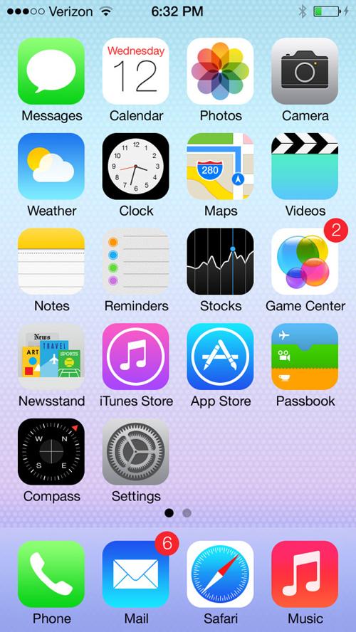 iOS 7 Home ScreenWith 100% Shape Layers Mockup Free PSD