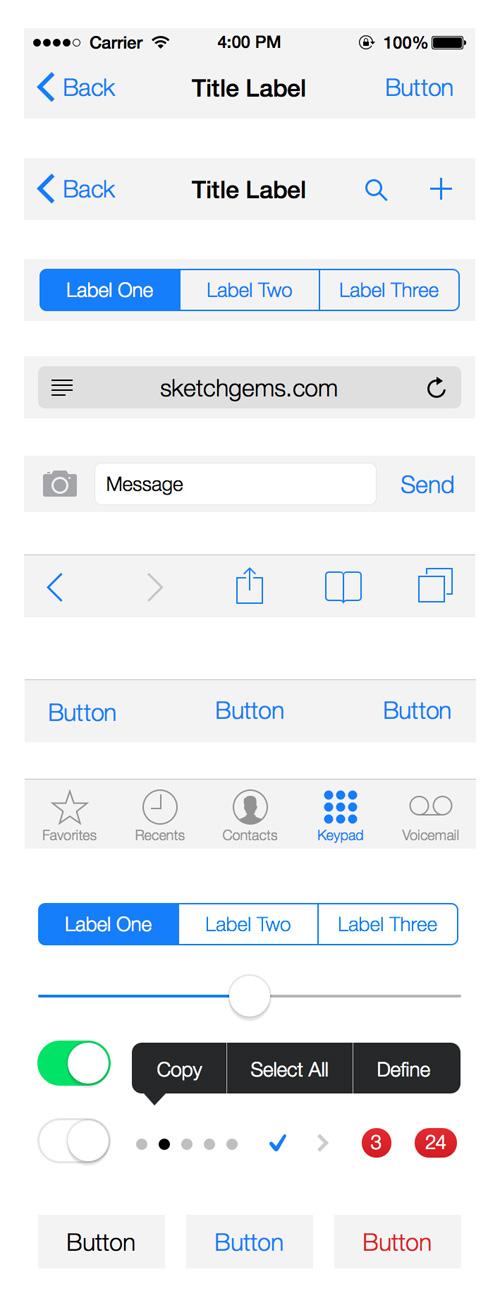 iOS 7 UI Kit (.sketch)