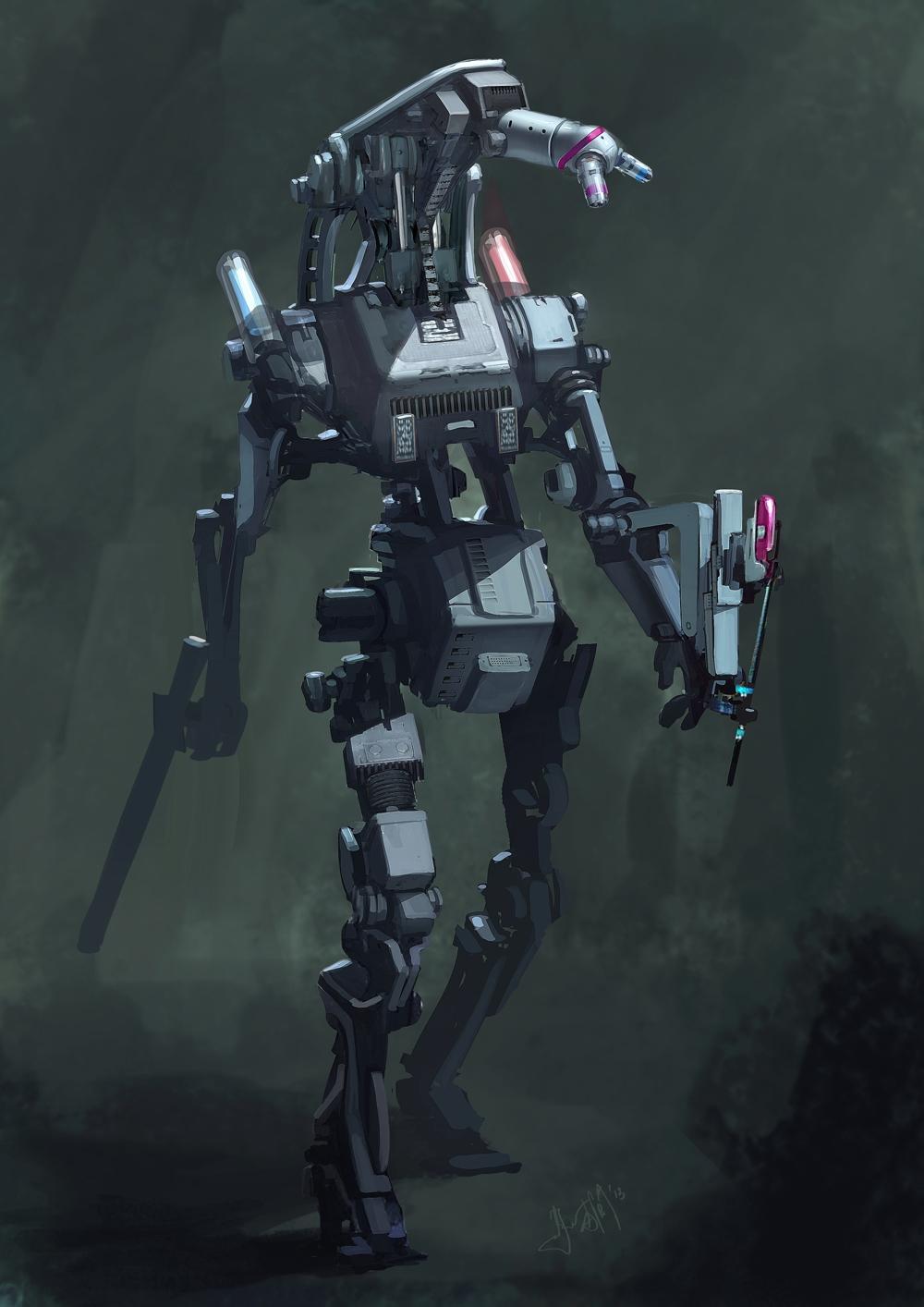 Create a digital painting of a robot mech