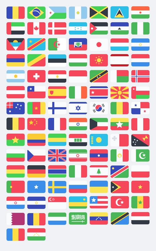 100 Free Flat Flags (PSD) Free PSD File