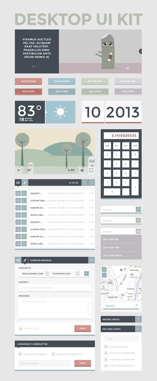 Desktop UI Kit Free PSD File