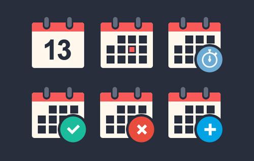 Flat Calendar Icon Set Free PSD File
