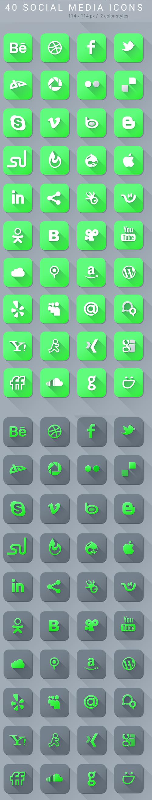 Free Social Media Icons PSD File
