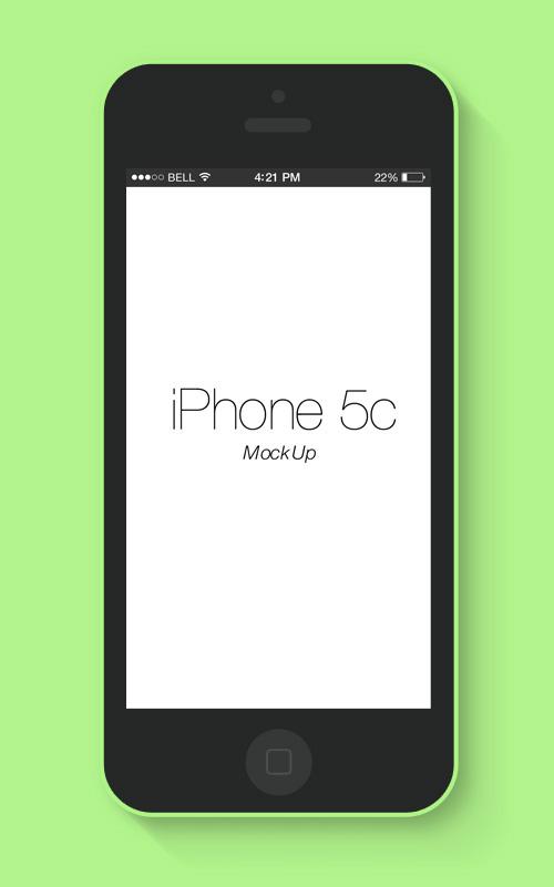 Flat iPhone 5c Mockup Free PSD File