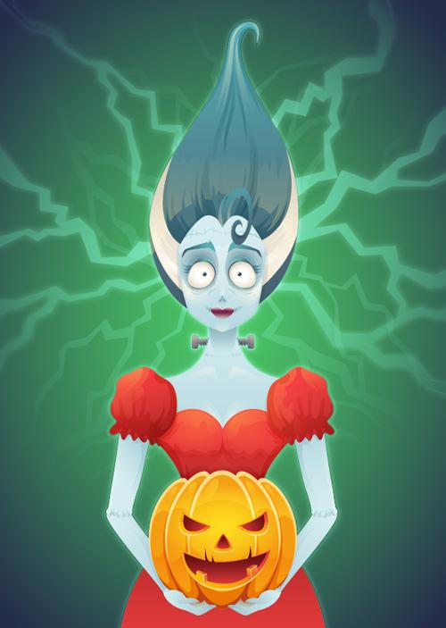 How to Create a Tim Burton Inspired Bride of Frankenstein in Adobe Illustrator