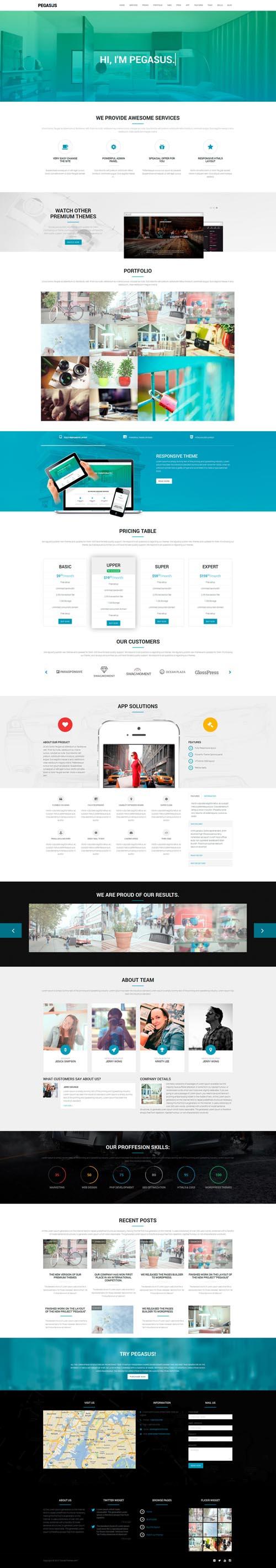Pegasus WordPress Theme, Parallax, One-Page