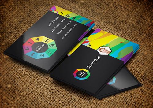 Social websites Business Card Template