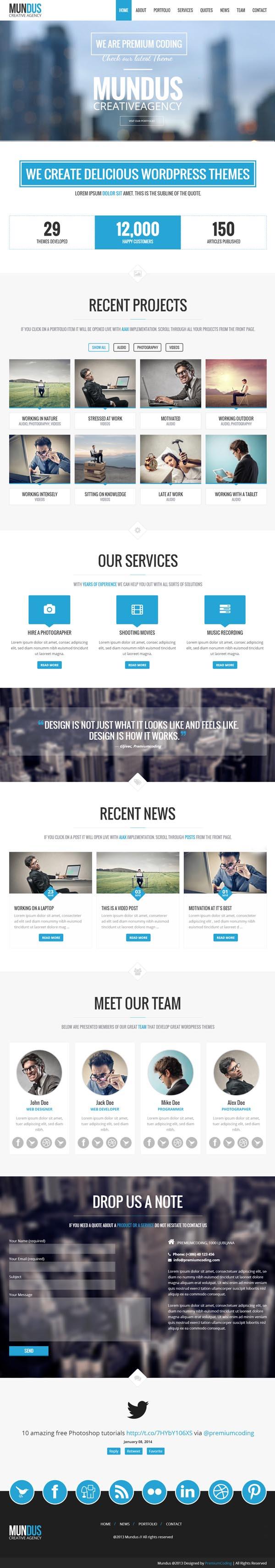 Mundus - A Business One Page WordPress Theme