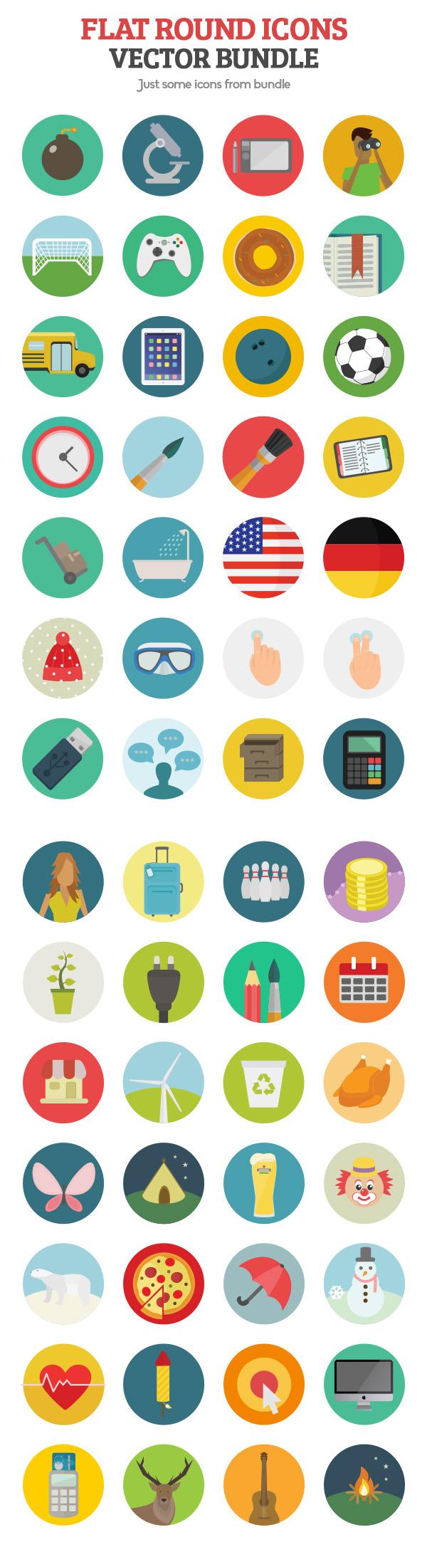 flat icons vector bundle