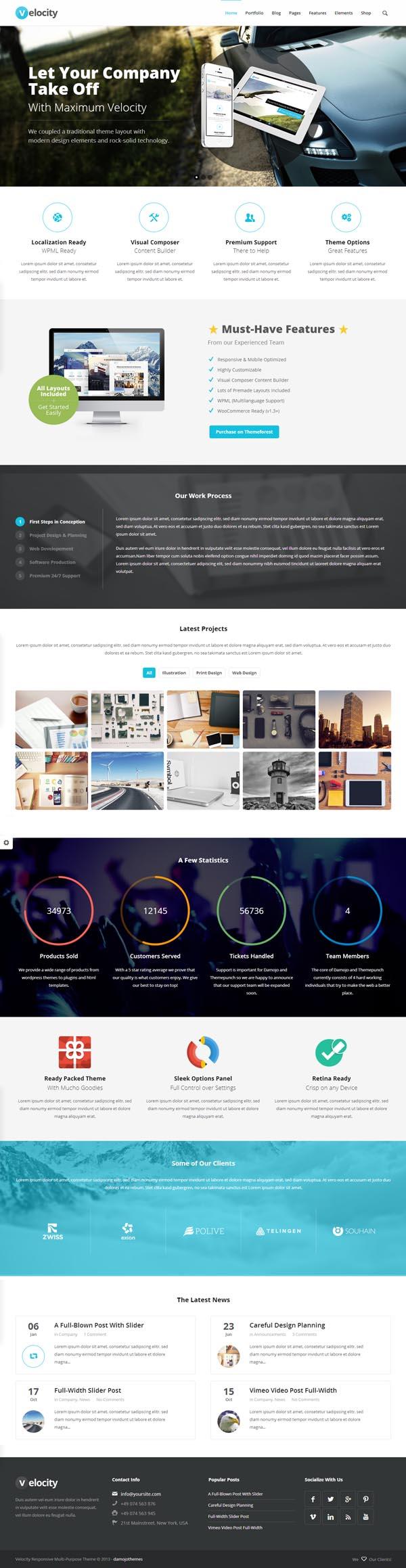 Velocity – Responsive Multi-Purpose WordPress Theme