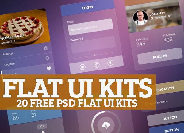 20 Free Flat UI Kits (PSD)