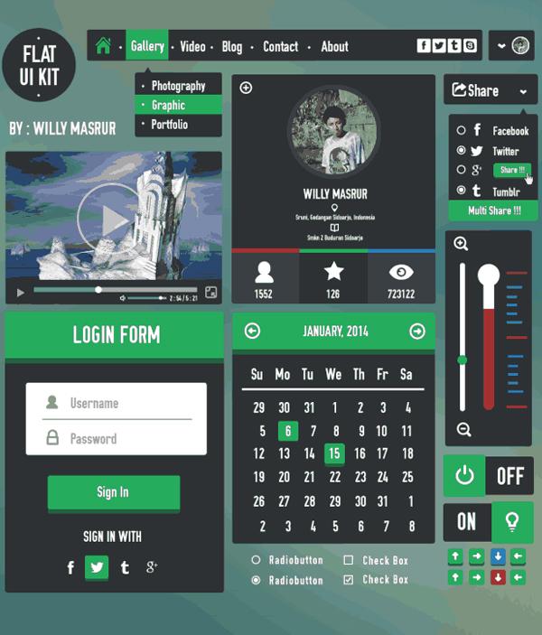 Flat UI kit (Free PSD)