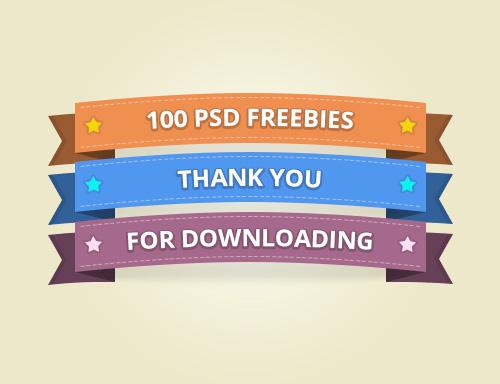 100 Ribbon Free PSD