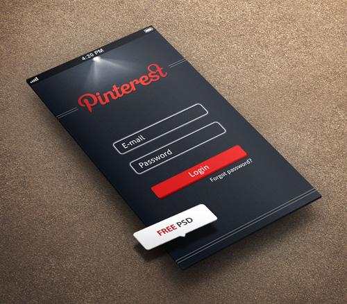Pintrest Login App Screen PSD
