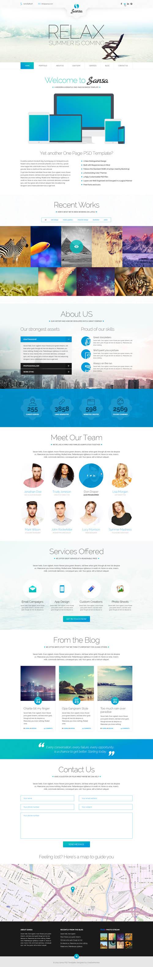Sansa - Multipurpose One Page PSD Theme