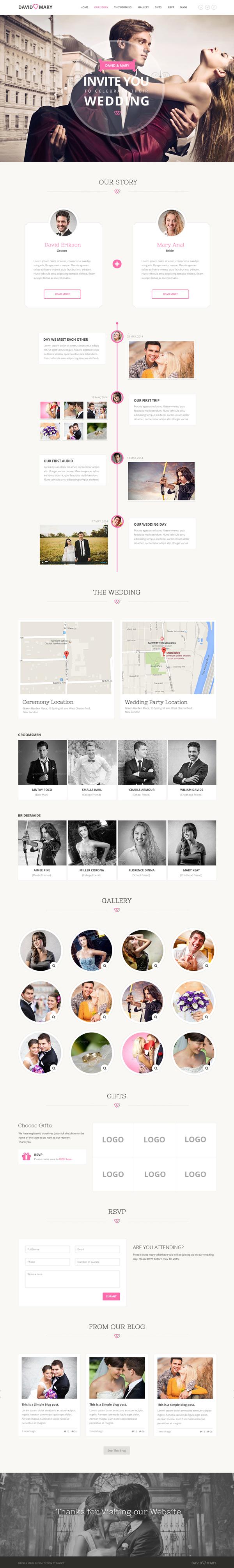 David & Mary - Event & Wedding PSD HTML5 Template