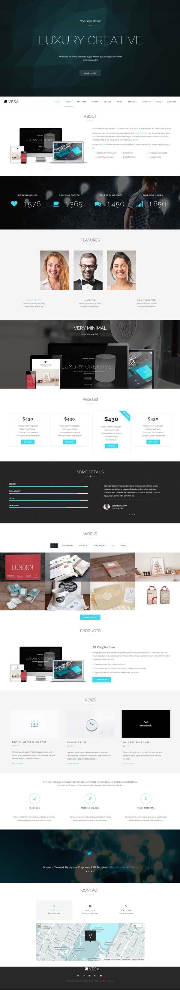 Vesa Responsive Parallax One Page WordPress Theme